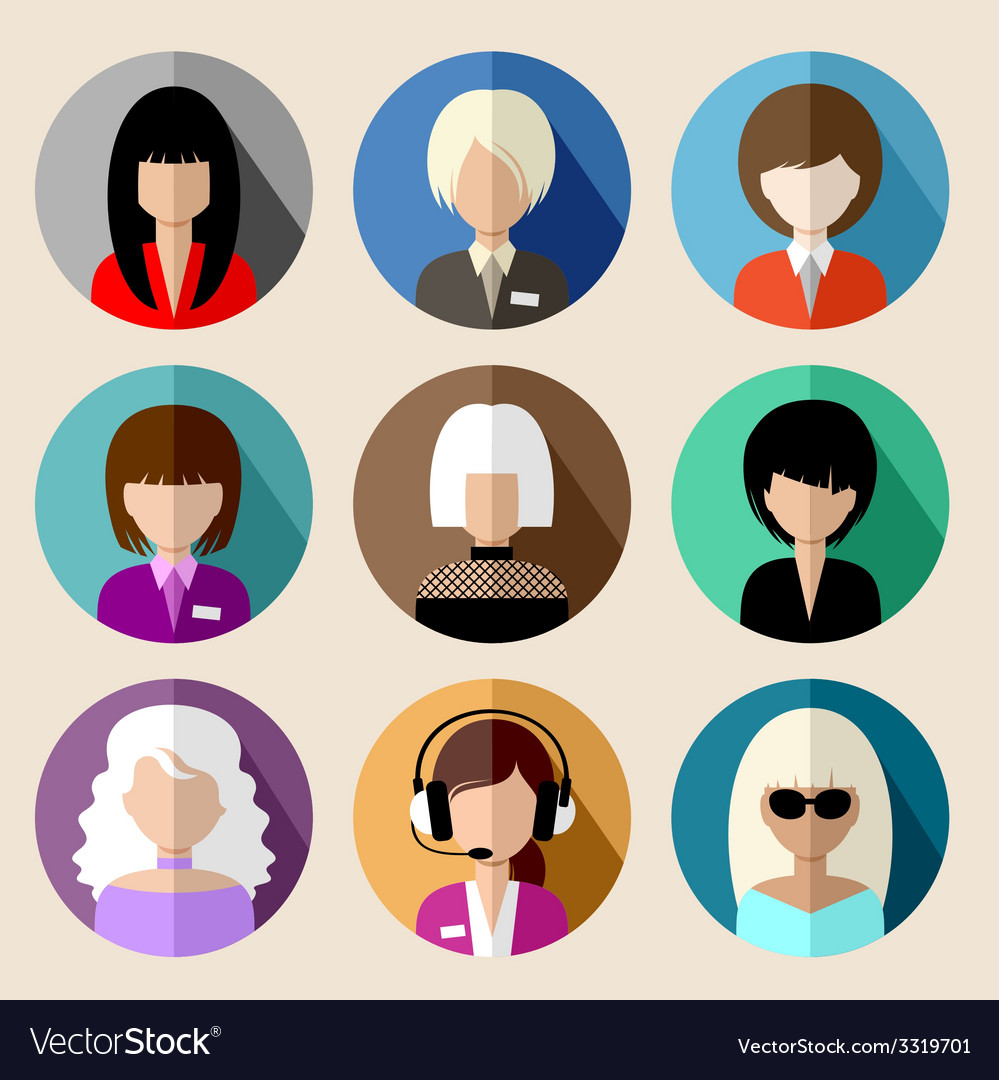 Set of round flat icons with women vector   Price: 1 Credit (USD $1)