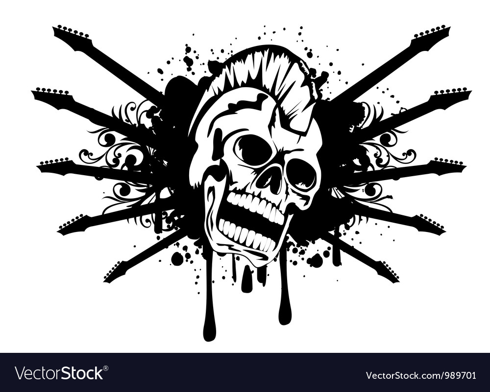 Skull with silhouette guitars vector | Price: 1 Credit (USD $1)
