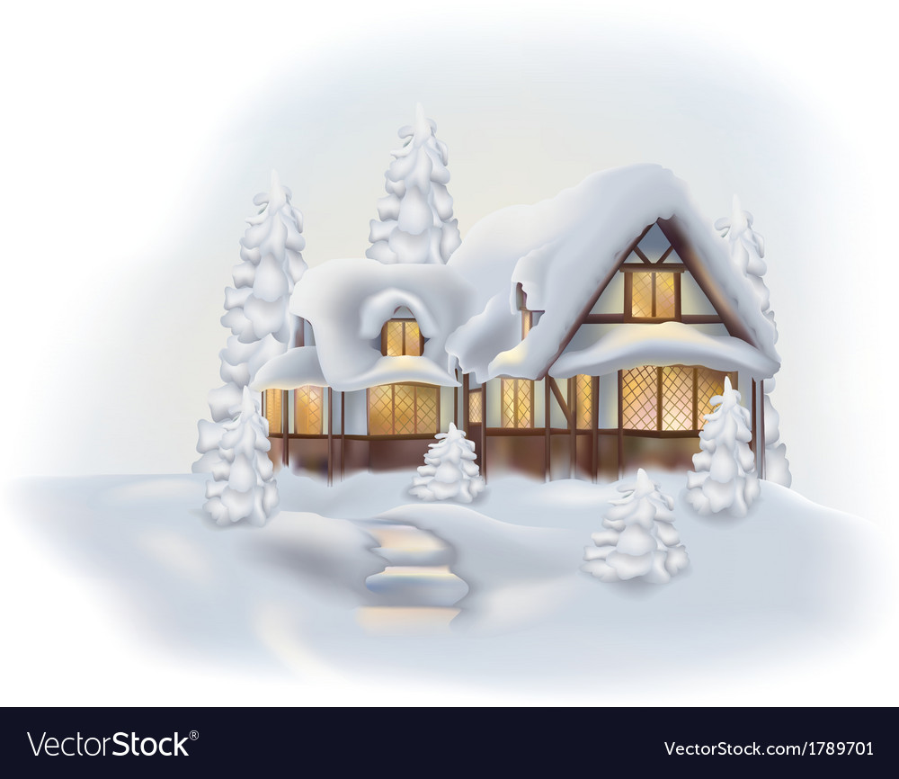 Snowy cottage vector | Price: 1 Credit (USD $1)