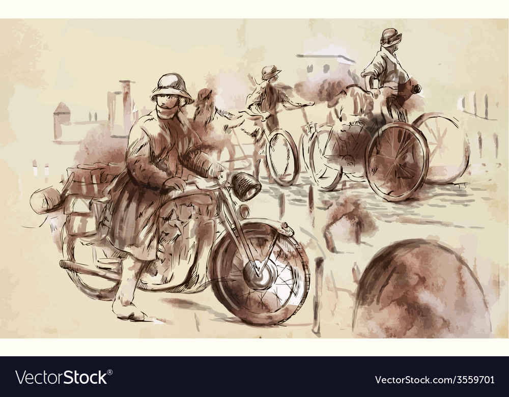 Soldiers on bicycles and a soldier on a motorcycle vector | Price: 3 Credit (USD $3)