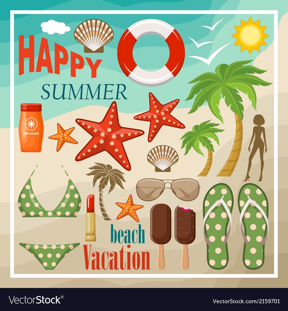 Summer beach set vector   Price: 3 Credit (USD $3)