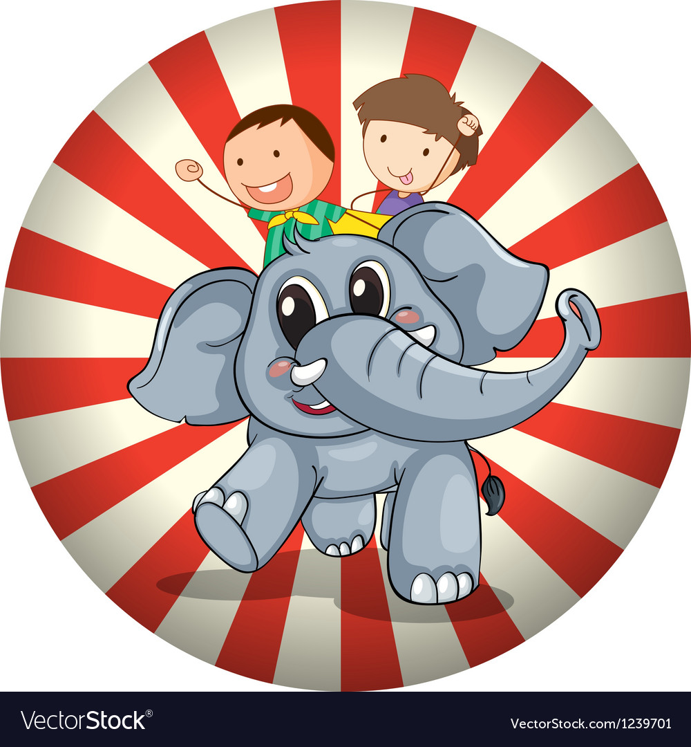 Two kids riding at the back of a gray elephant vector | Price: 1 Credit (USD $1)