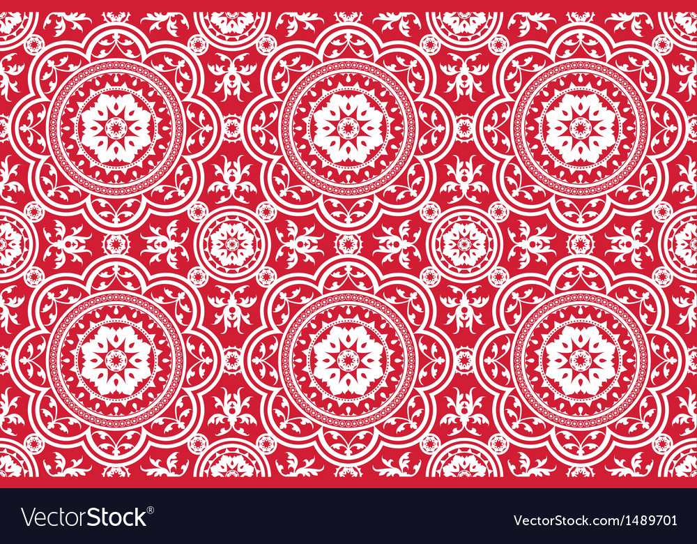 Vintage victorian age red seamless pattern vector | Price: 1 Credit (USD $1)