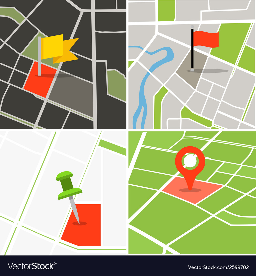 Abstract city map collection with pins vector | Price: 1 Credit (USD $1)