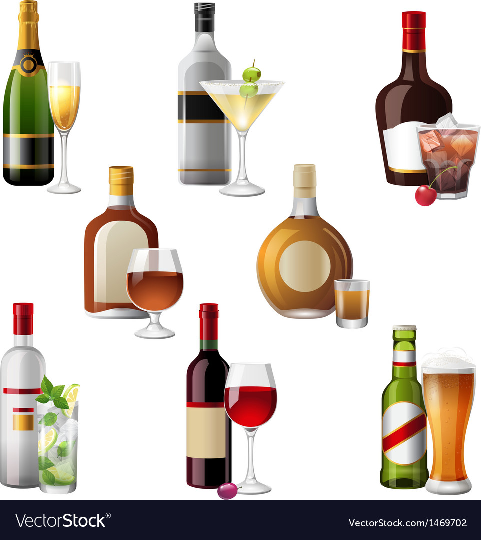 Alcohol bottles and cocktails vector | Price: 3 Credit (USD $3)