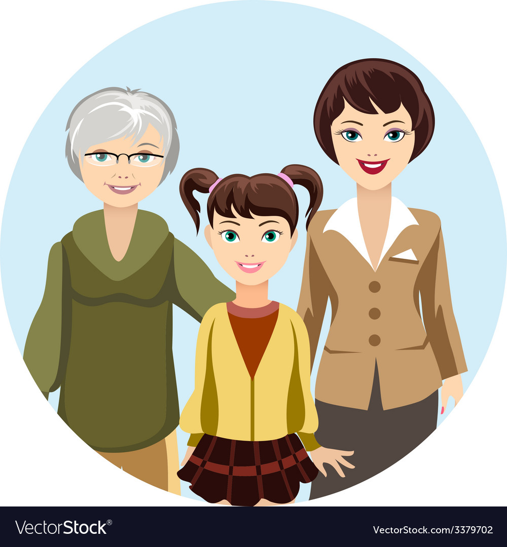 Cartooned females in different ages vector | Price: 1 Credit (USD $1)