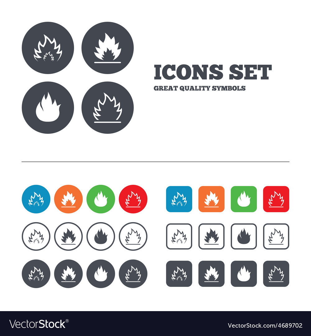 Fire flame icons heat signs vector | Price: 1 Credit (USD $1)