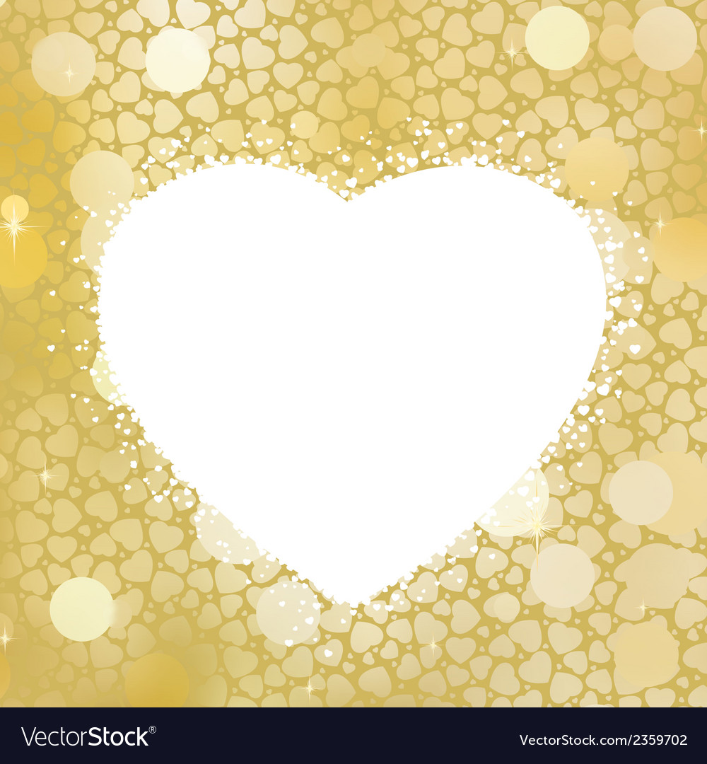 Golden heart bokeh frame with copy space eps 8 vector | Price: 1 Credit (USD $1)