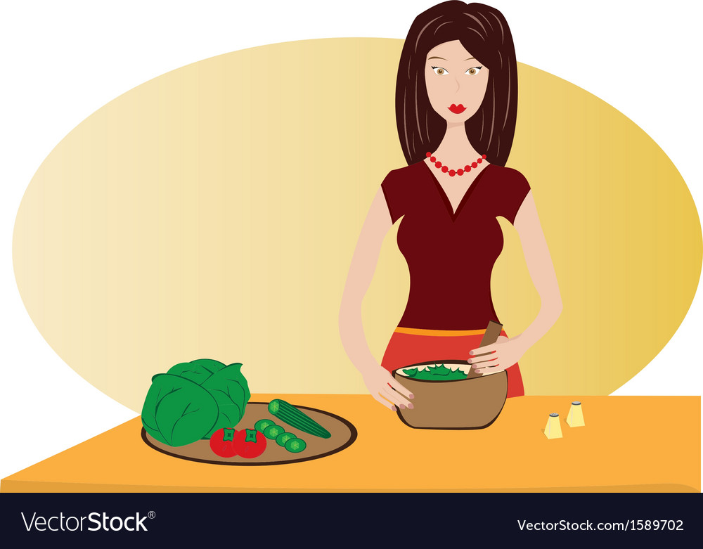 Housewife preparing diner vector | Price: 1 Credit (USD $1)