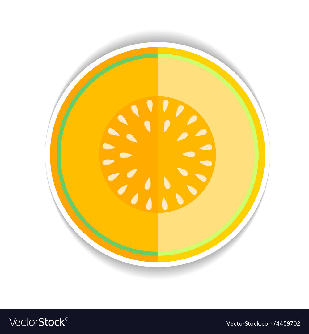Icon ripe yellow melon and a piece vector | Price: 1 Credit (USD $1)