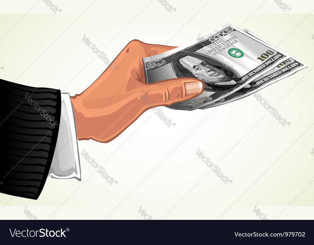 Mans hand transferring two hundred dollars vector | Price: 1 Credit (USD $1)