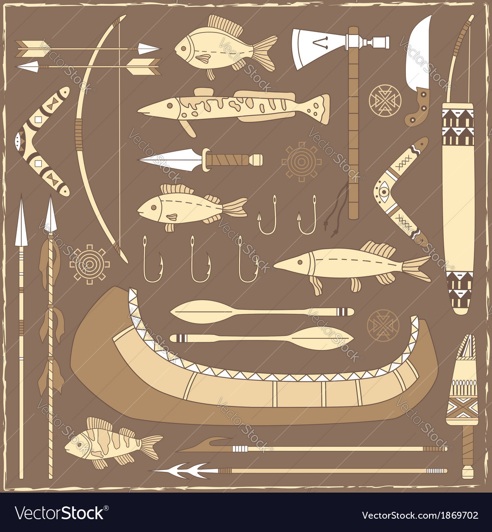 Native american fishing design elements vector | Price: 1 Credit (USD $1)