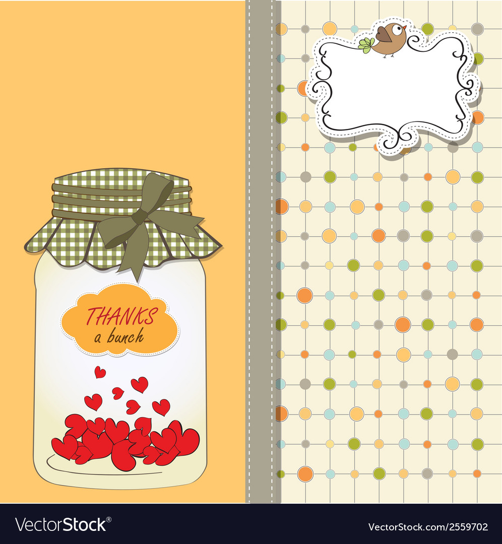 Thank you greeting card with hearts plugged into vector | Price: 1 Credit (USD $1)