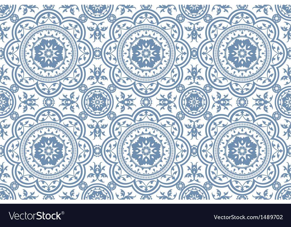 Vintage victorian age blue seamless pattern vector | Price: 1 Credit (USD $1)