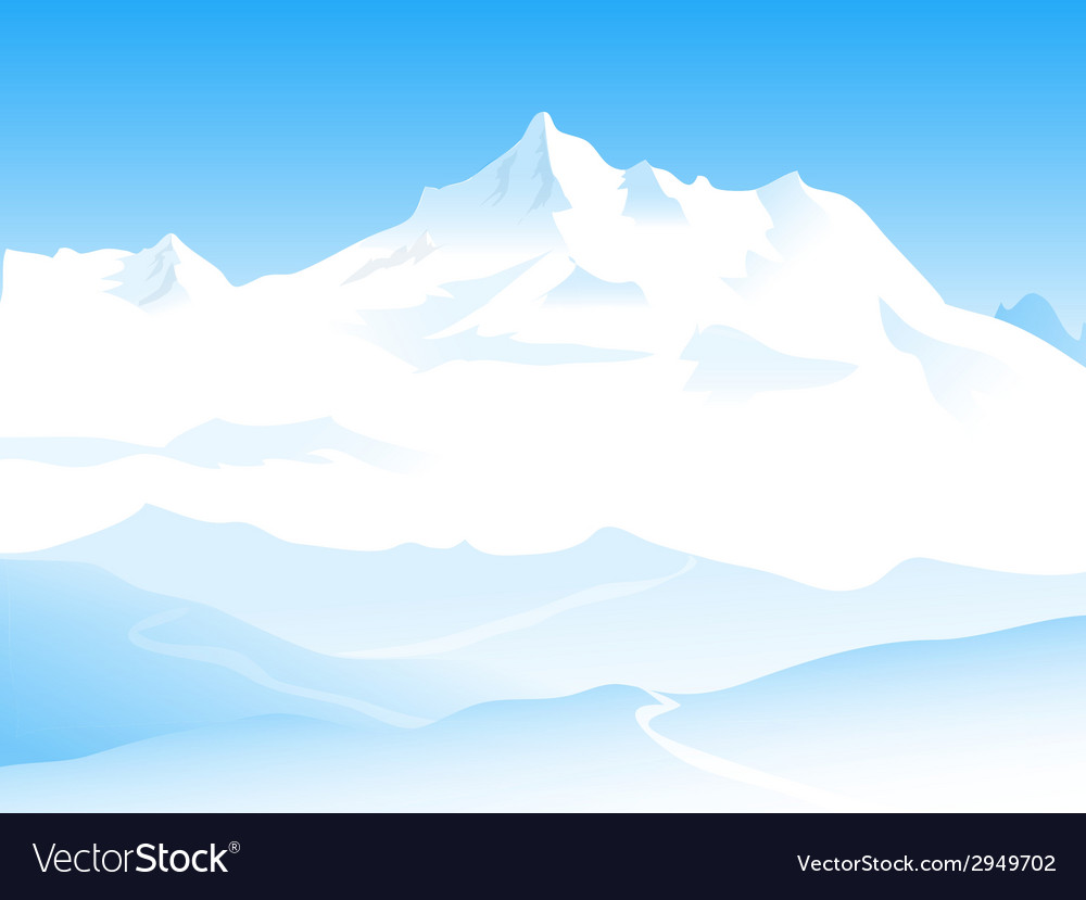 Winter landscape and snow peaks vector | Price: 1 Credit (USD $1)
