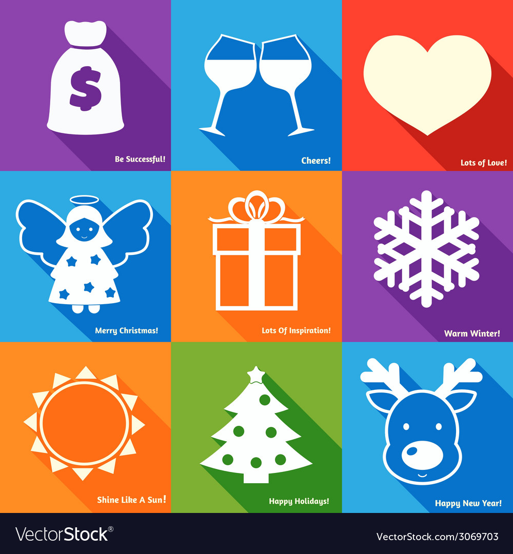 Christmas wishes set vector | Price: 1 Credit (USD $1)
