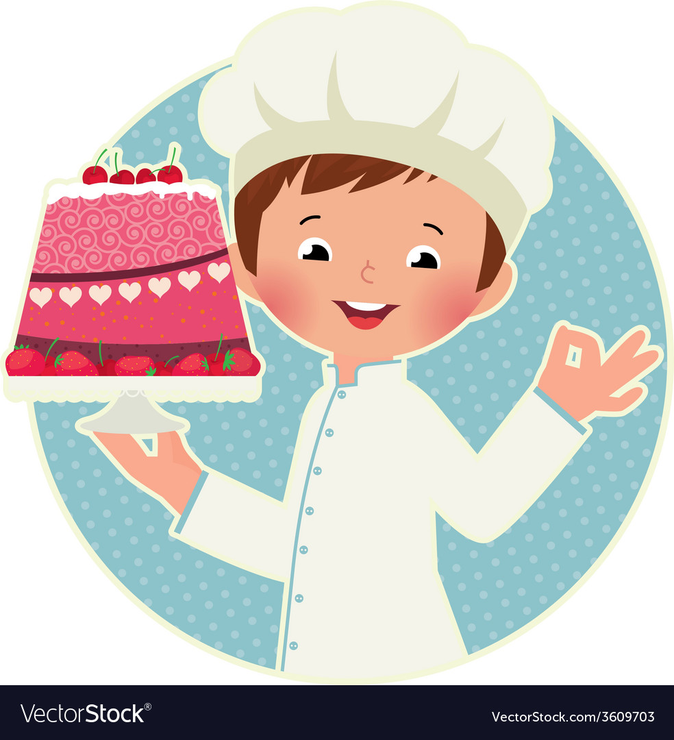 Cook with cake vector | Price: 1 Credit (USD $1)