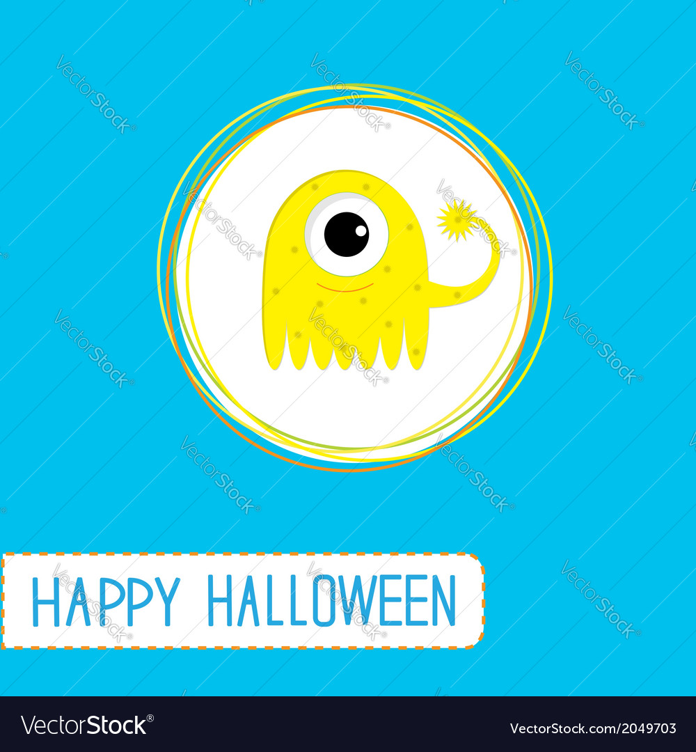 Cute cartoon yellow monster blue background vector | Price: 1 Credit (USD $1)