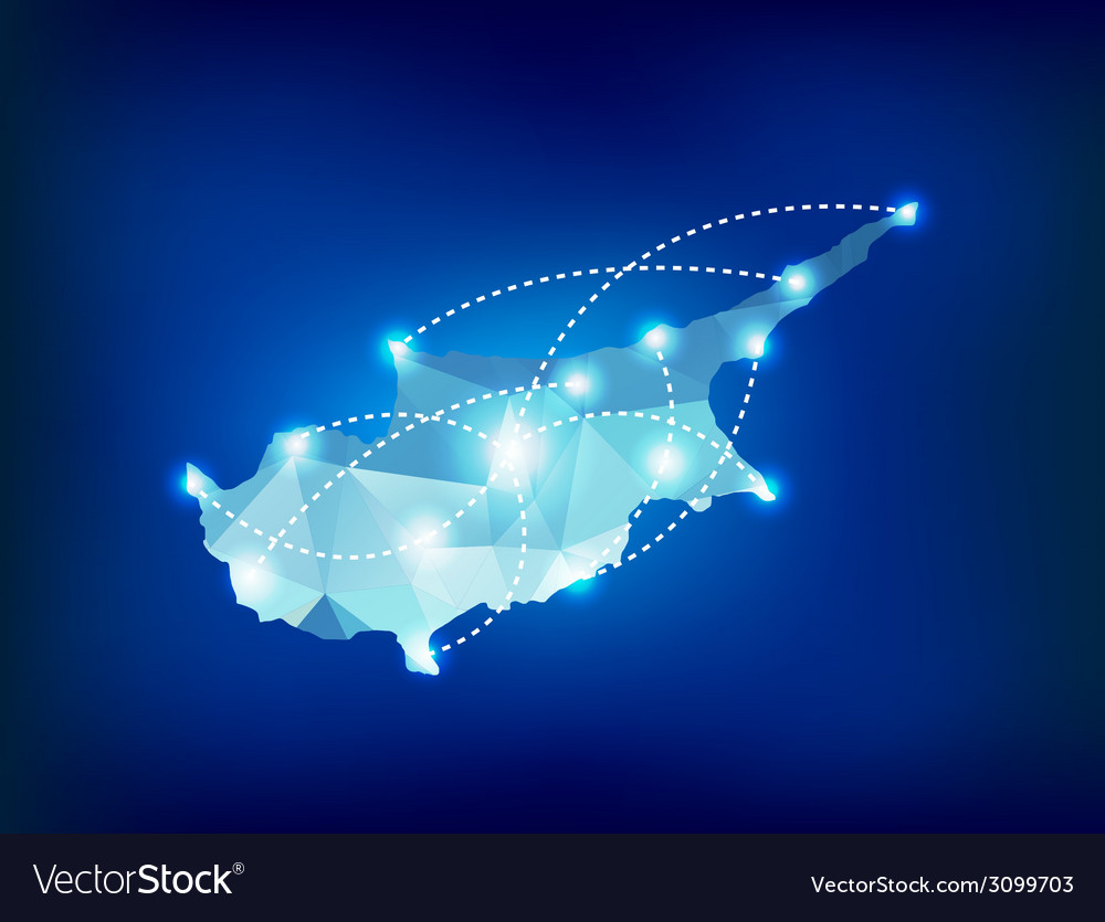 Cyprus country map polygonal with spot lights vector | Price: 1 Credit (USD $1)