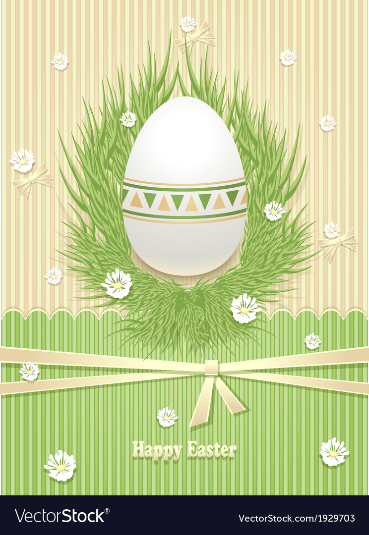 Easter egg with grass flowers ribbon vector | Price: 1 Credit (USD $1)