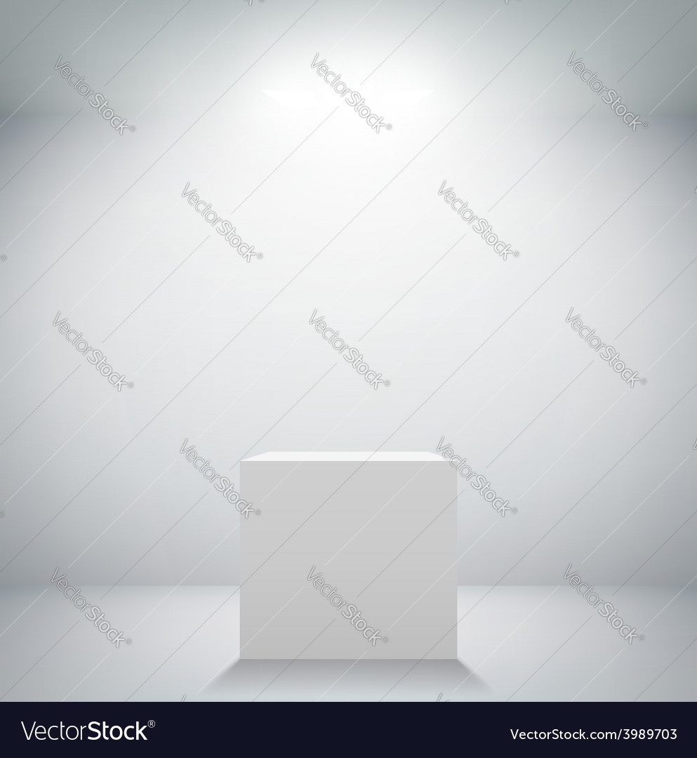 Empty white room with a pedestal for presentation vector | Price: 1 Credit (USD $1)
