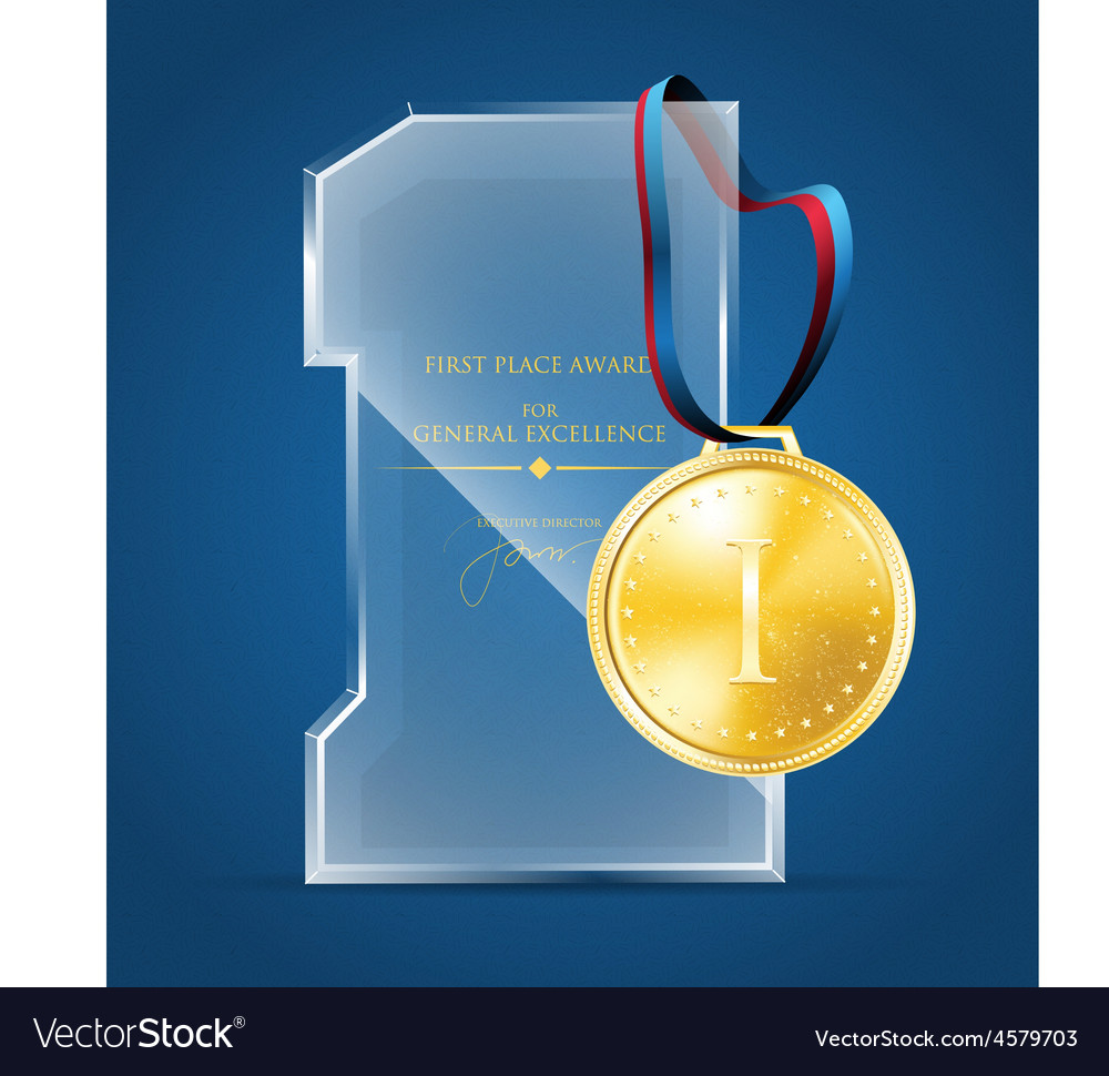 Glass award and a gold medal vector | Price: 1 Credit (USD $1)