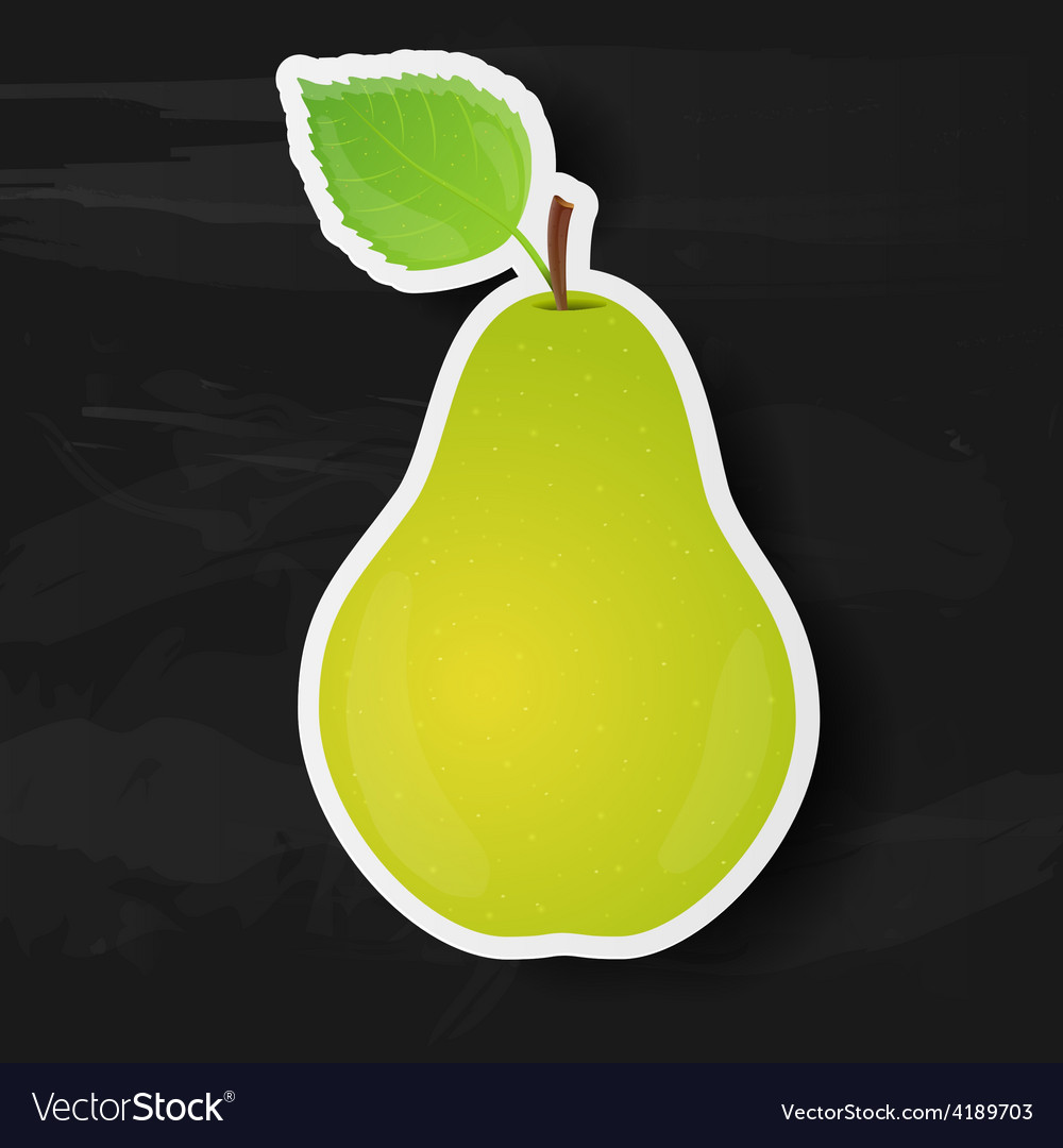 Green pear isolated on black background vector | Price: 1 Credit (USD $1)