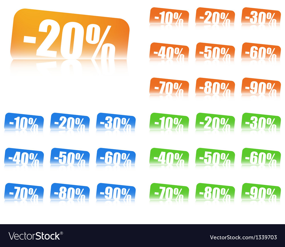Percentage discount labels with reflection effect vector | Price: 1 Credit (USD $1)