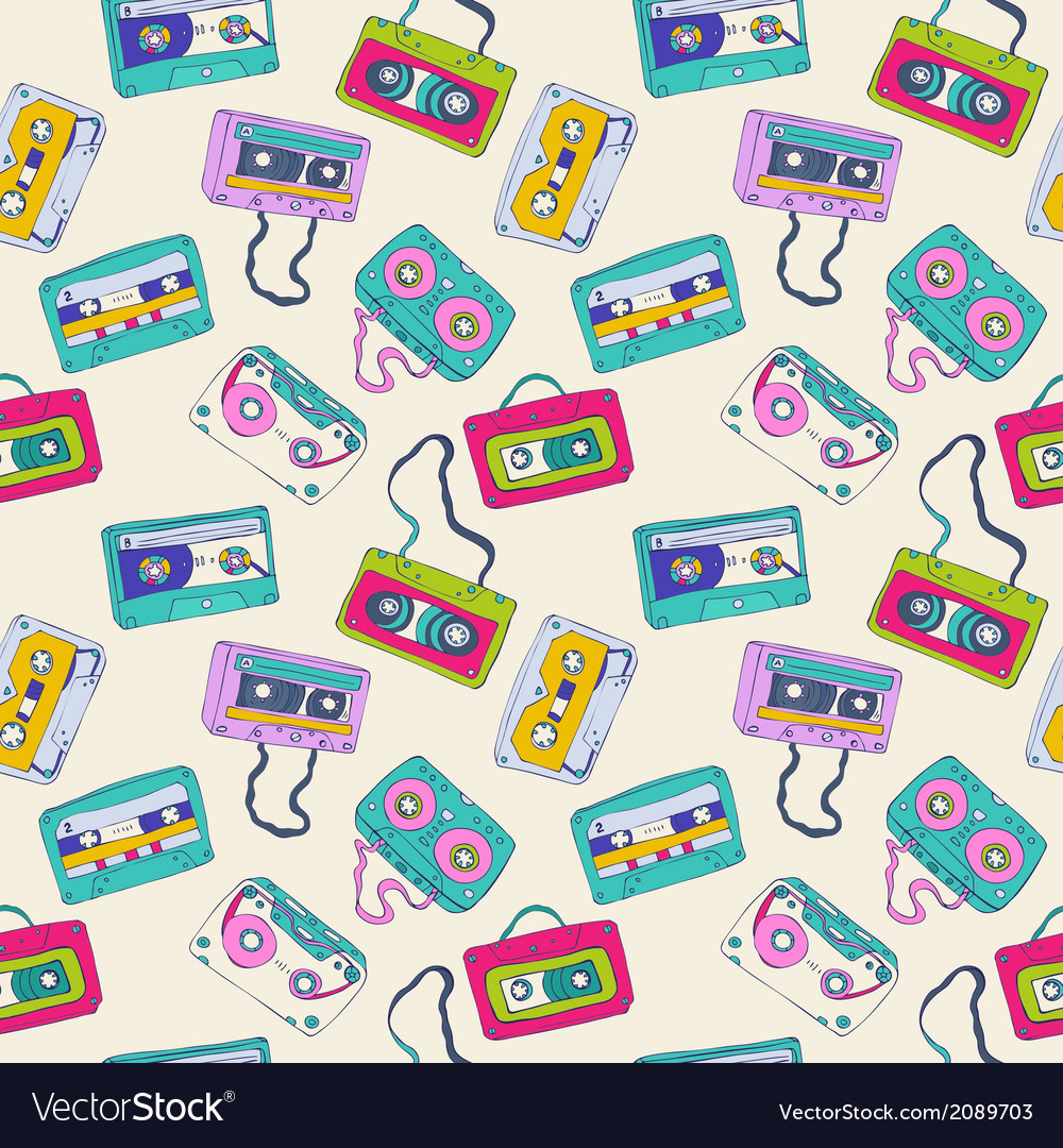 Seamless pattern of retro cassette tapes vector | Price: 1 Credit (USD $1)