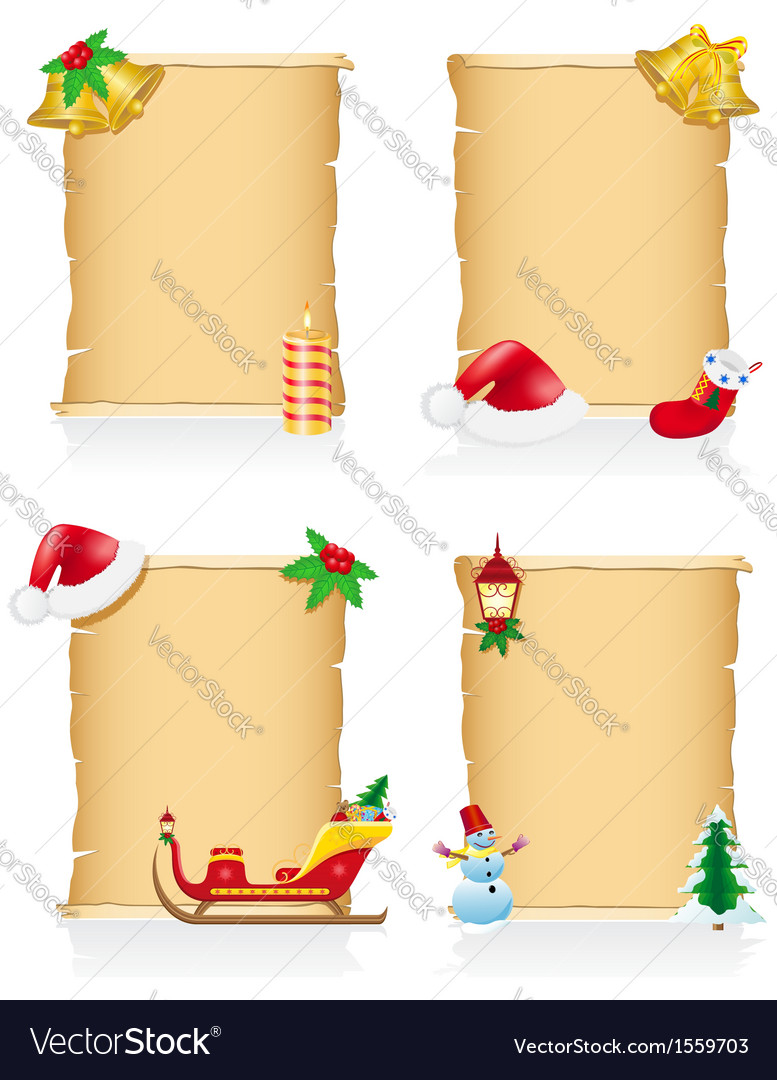 Set vintage christmas blank scroll vector | Price: 1 Credit (USD $1)