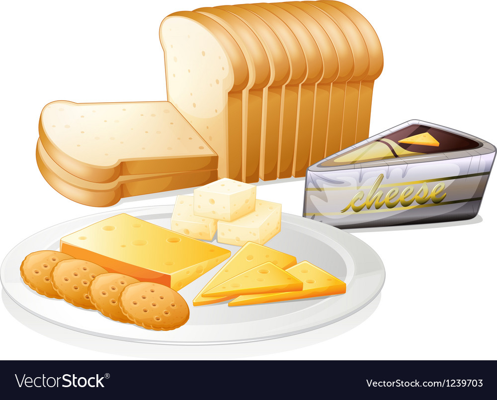 Sliced bread with cheese and biscuits vector | Price: 1 Credit (USD $1)