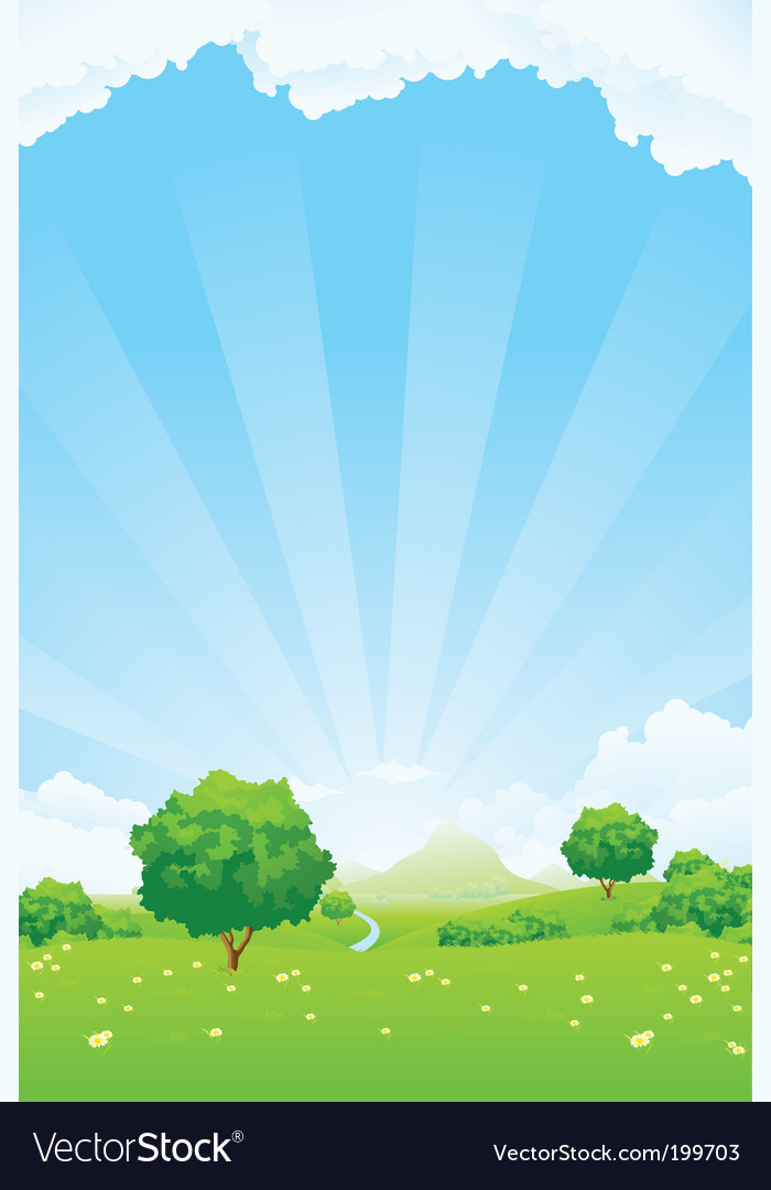 Summer landscape vector | Price: 1 Credit (USD $1)