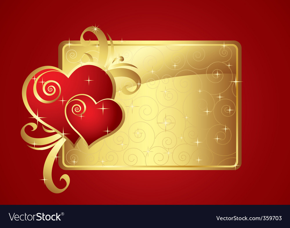 Valentine card gold v vector | Price: 1 Credit (USD $1)