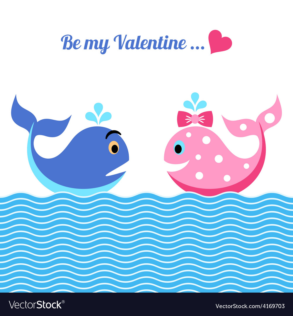 Valentine card with whales vector   Price: 1 Credit (USD $1)