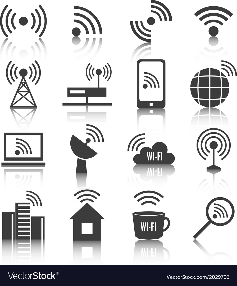 Wireless communication network icons set vector | Price: 1 Credit (USD $1)