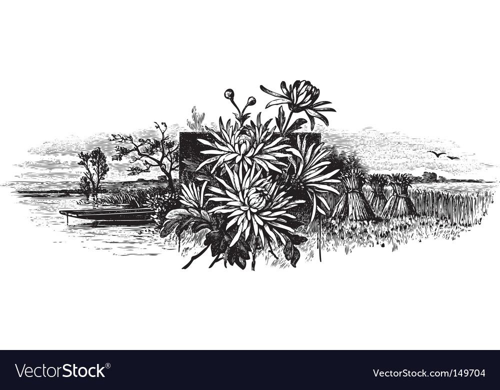 Antique landscape engraving vector | Price: 1 Credit (USD $1)