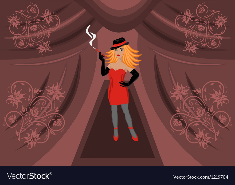 Beautiful sexual girl smoking a cigarette vector | Price: 1 Credit (USD $1)