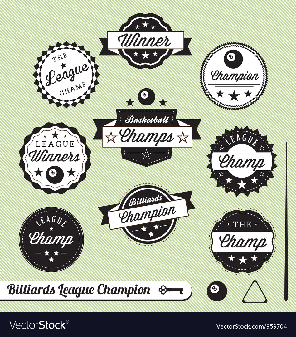 Billiards champion labels vector | Price: 1 Credit (USD $1)
