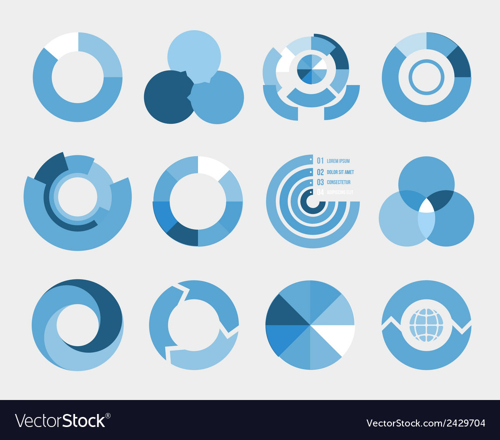 Circle diagram elements vector | Price: 1 Credit (USD $1)