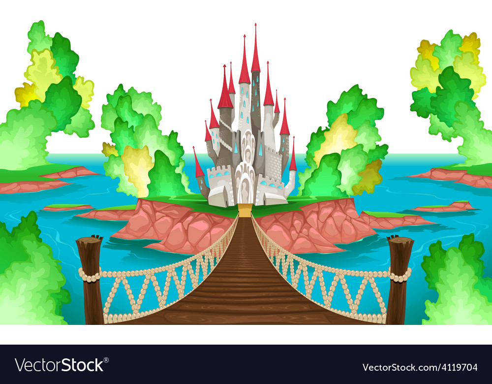 Fantasy landscape with castle white sky vector | Price: 3 Credit (USD $3)