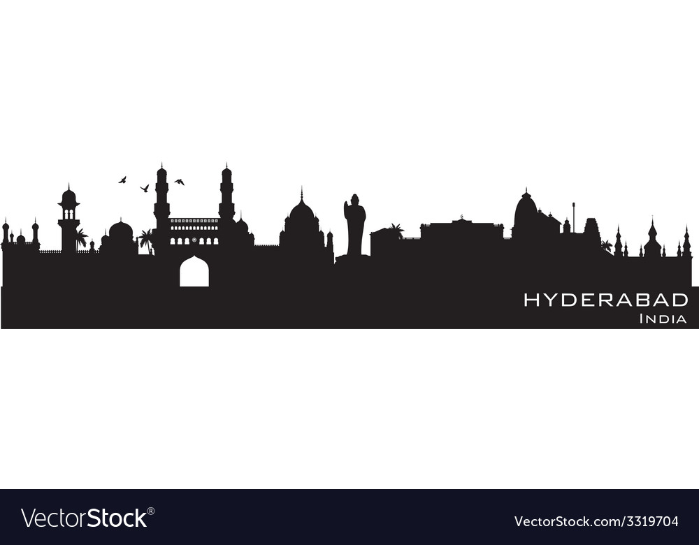 Hyderabad india skyline detailed silhouette vector | Price: 1 Credit (USD $1)