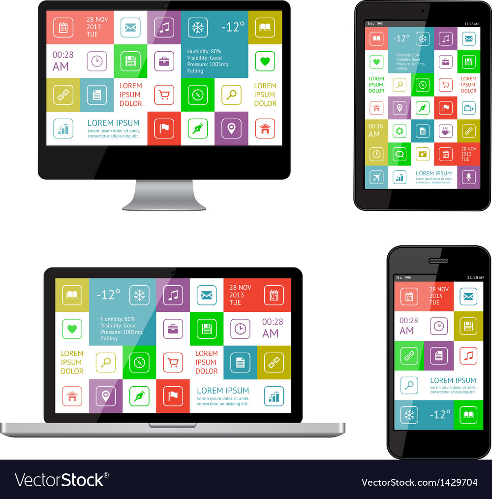 Isolated gadgets with ui and web elements vector | Price: 1 Credit (USD $1)