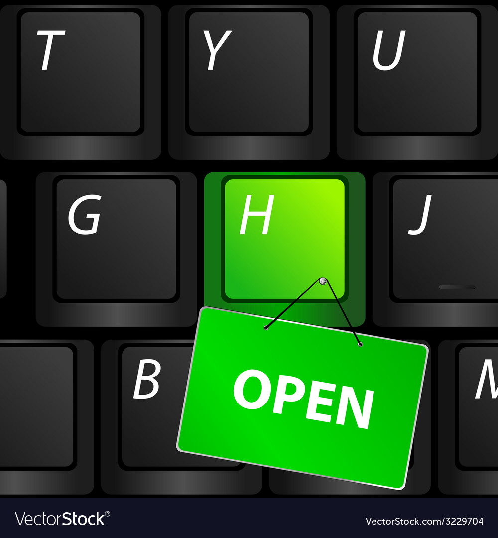 Keyboard with green open sign vector | Price: 1 Credit (USD $1)