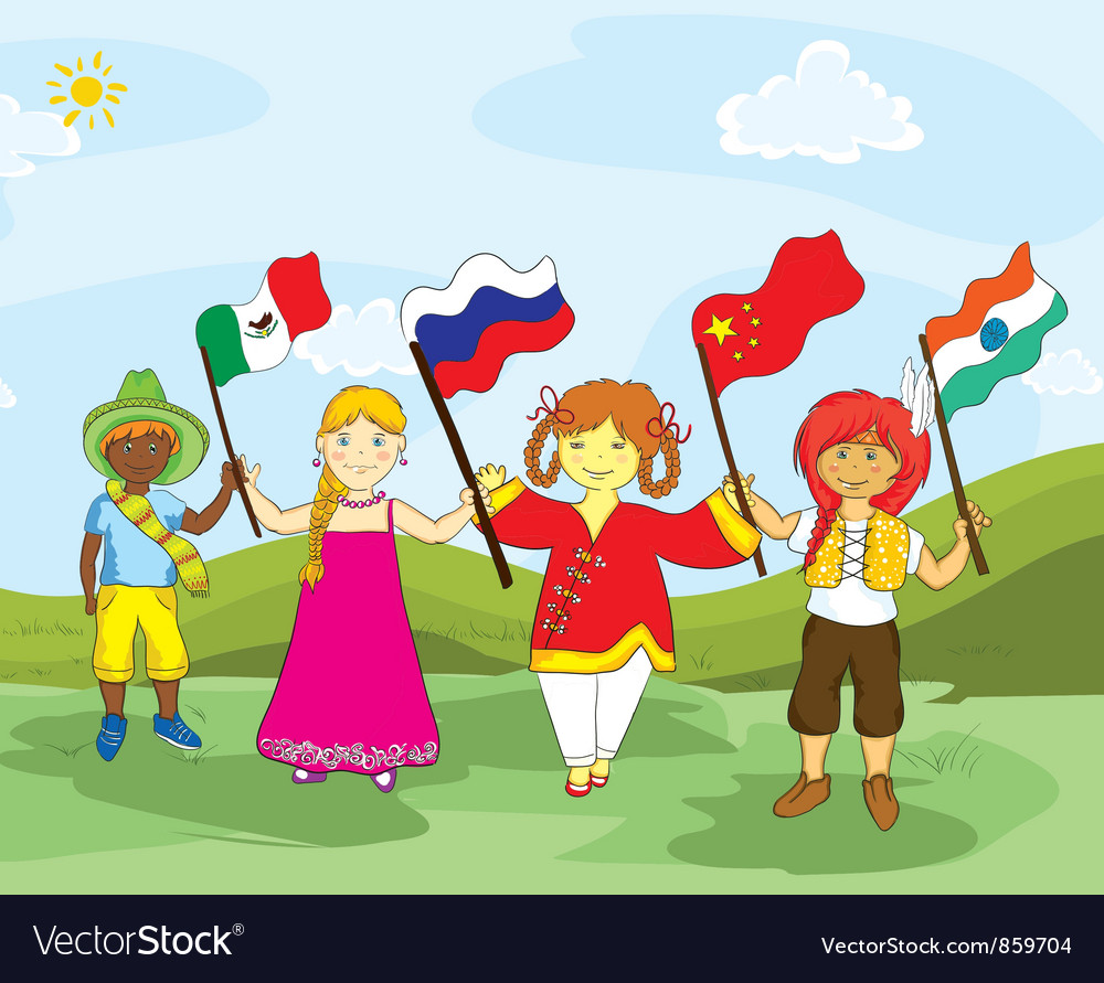 Kids with flags vector | Price: 3 Credit (USD $3)