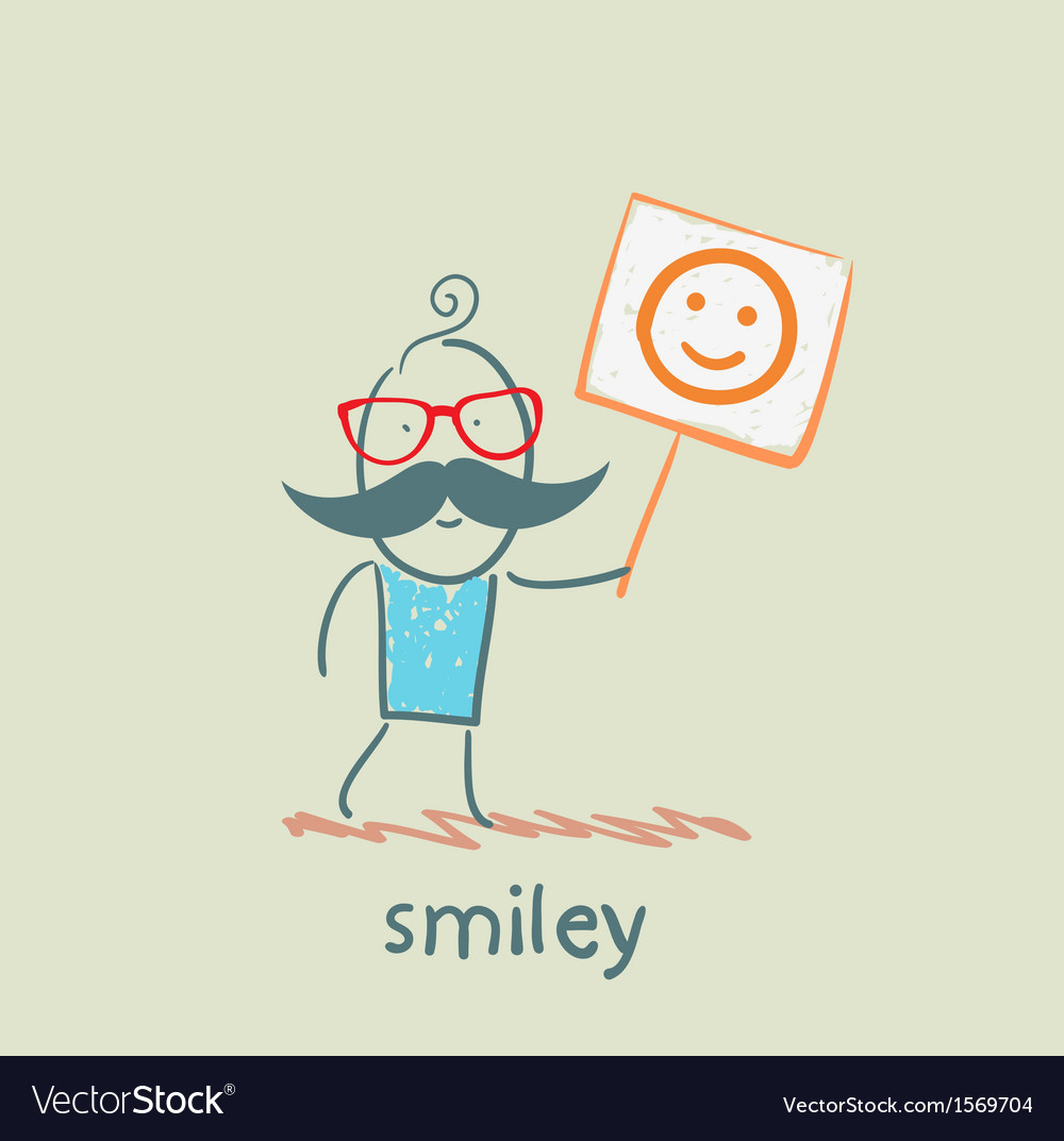 Man holds a poster with a smiley vector   Price: 1 Credit (USD $1)