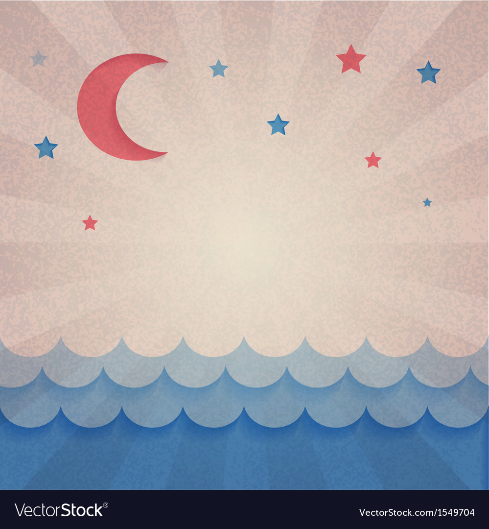 Retro background with moon and stars vector | Price: 1 Credit (USD $1)