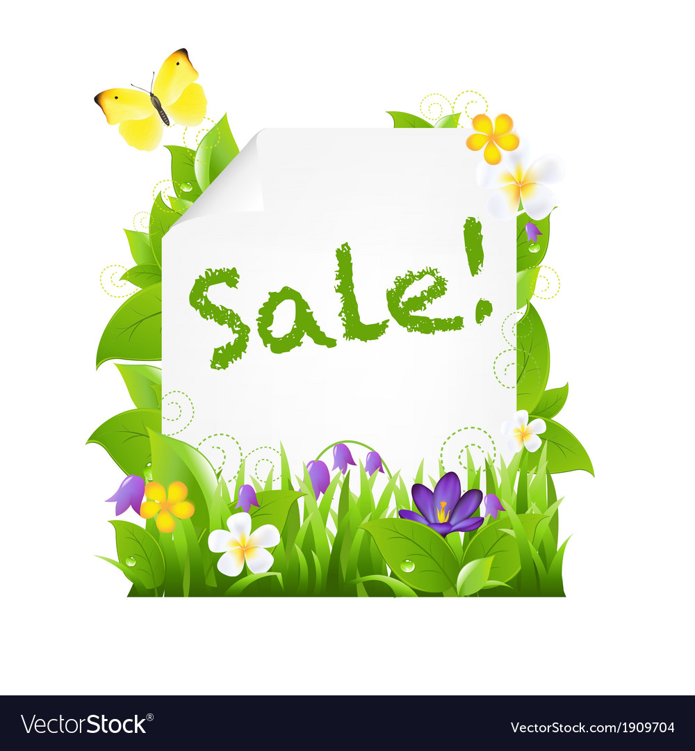 Sale banner with flowers and leaves vector | Price: 1 Credit (USD $1)