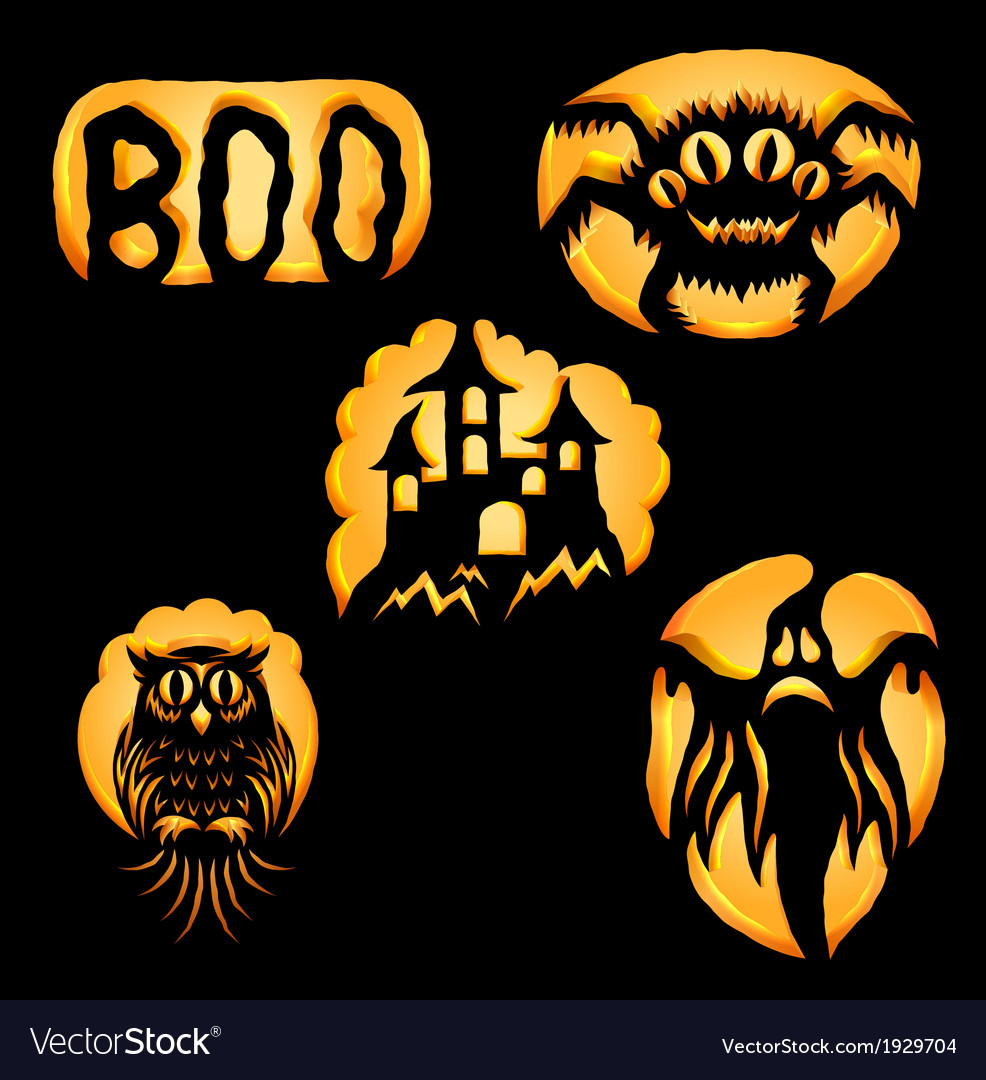 Set of jack o lanterns vector | Price: 1 Credit (USD $1)
