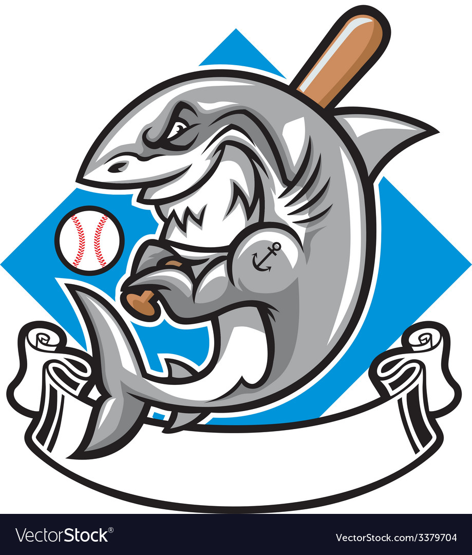Shark baseball mascot vector | Price: 3 Credit (USD $3)