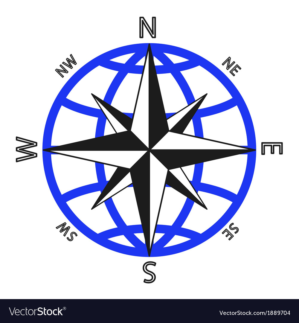 Wind rose against of the globe vector | Price: 1 Credit (USD $1)